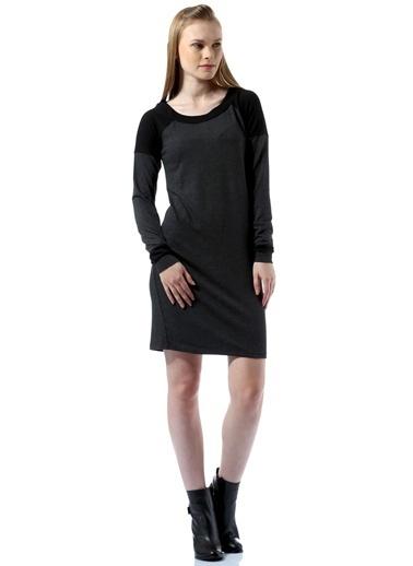 Caramel Uzun Kollu Düz Elbise Antrasit